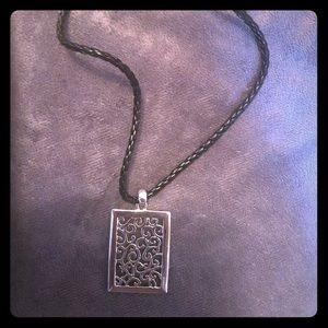 Lia Sophia Black Leather & Silver-toned Necklace